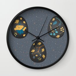 Collection Of Colorful Happy Easter Eggs Wall Clock