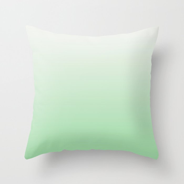 Pastel Green & Linen White Horizontal Gradient Soft Ombre Pairs to 2020 Color of the Year Neo Mint Throw Pillow