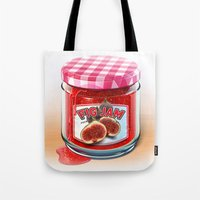 fig Tote Bags featuring FIG JAM by Vin Zzep