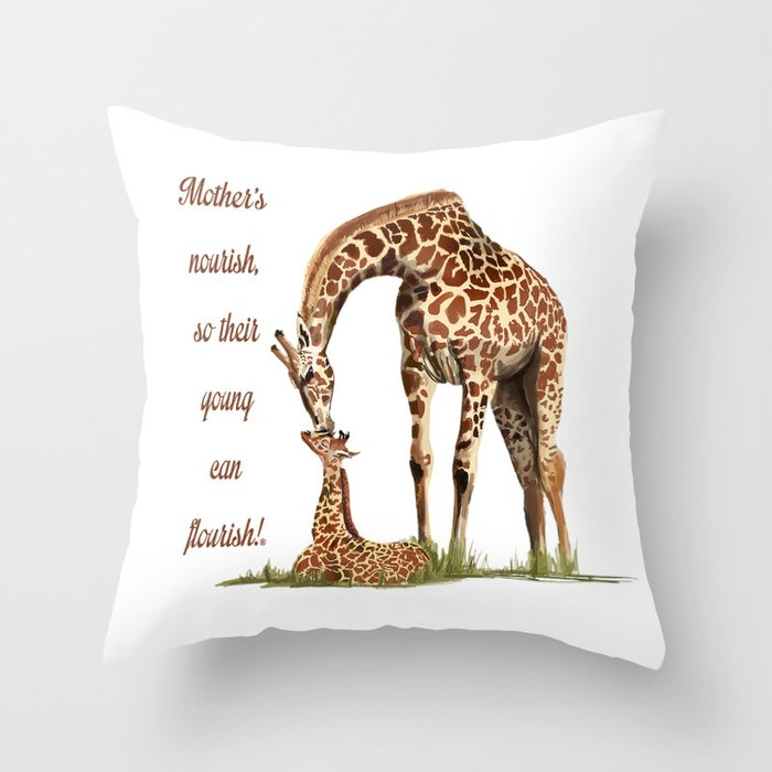 Mothers Giraffe and Calf Deko-Kissen