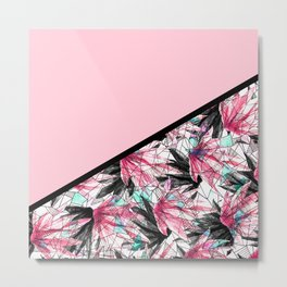 Blush Pink and Teal Abstract Tropical Leaves Metal Print