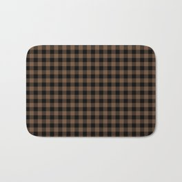 Classic Brown Coffee Country Cottage Summer Buffalo Plaid Bath Mat