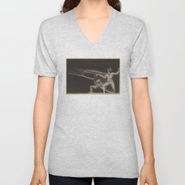 Vintage Motion Blur Photograph of a Fencer (1906) Unisex V-Neck