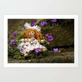 Clothes Peg Doll and Flowers Art Print