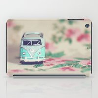 vw bus iPad Cases featuring Aqua VW Bus with Roses by Anna Dykema Photography