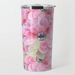 Shocking Pink Flora Gems Travel Mug