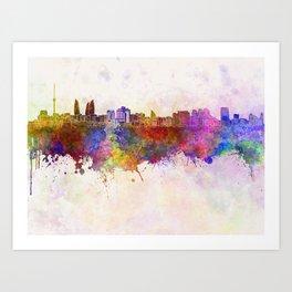 Baku skyline in watercolor background Art Print