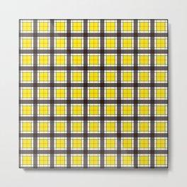Yellow Plaid Pattern Metal Print