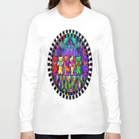 grateful dead Long Sleeve T-shirts featuring Grateful Dead Dancing Bears Colorful Psychedelic Characters #1 by CAP Artwork & Design