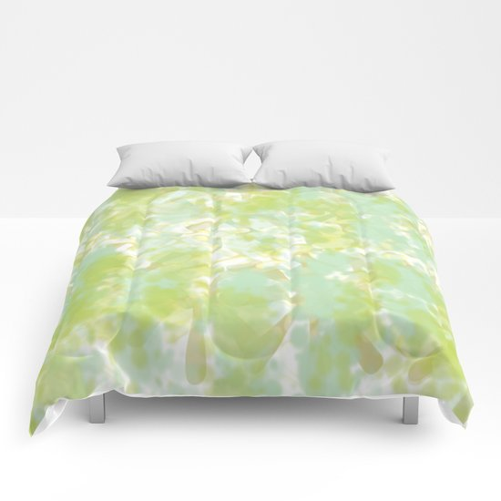 Golden Green Watercolor Abstract Comforters