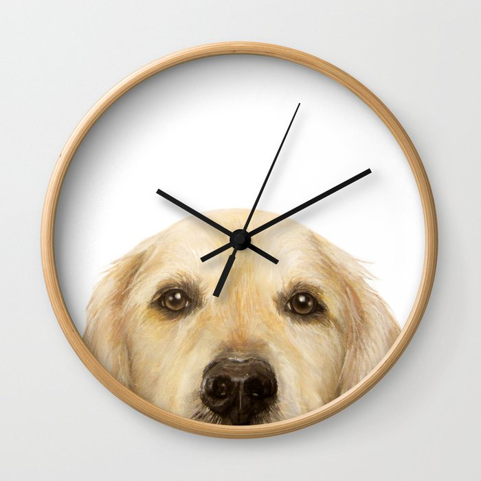 Golden retriever Dog illustration original painting print Wall Clock