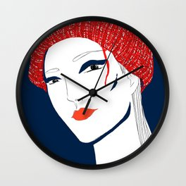 the girl with the hat Wall Clock