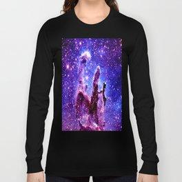 Galaxy Nebula : Pillars of Creation Purple Blue Long Sleeve T-shirt
