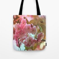 cherry blossoms Tote Bags featuring Cherry Blossoms by Judy Palkimas