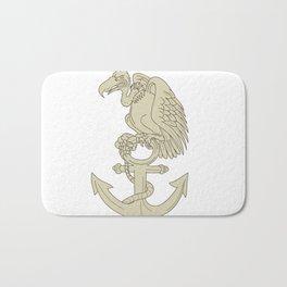Buzzard Perching Navy Anchor Cartoon Bath Mat