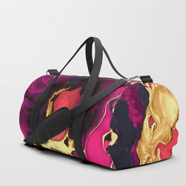 Gold purple and black Marble acrylic paint art Duffle Bag