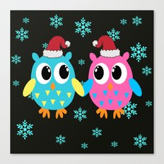 Xmas Owls in the Snow Canvas Print