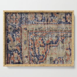 Vintage Woven Navy Blue and Tan Kilim  Serving Tray