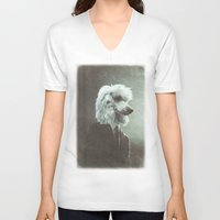 poodle V-neck T-shirts featuring Poodle by womoomow