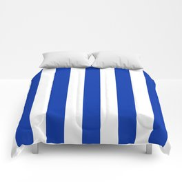 International Klein Blue - solid color - white vertical lines pattern Comforters