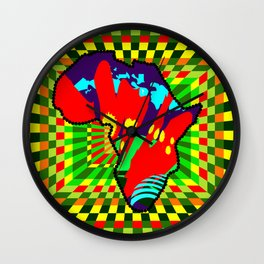 Colorful African Checkered Abstract Print Wall Clock