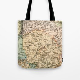 Vintage and Retro Map of India Tote Bag