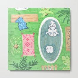 Green Tiled Bath drawing by Amanda Laurel Atkins Metal Print
