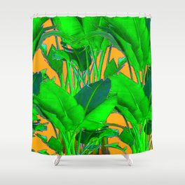 BRIGHT GREEN & GOLD TROPICAL FOLIAGE ART Shower Curtain