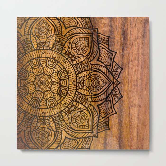 Mandala on wood Metal Print