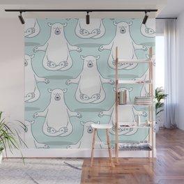 Levitating Meditating Polar Bear Wall Mural