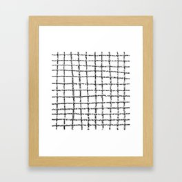Black and white grid abstract minimal gridded pattern gifts basic nursery home decor Framed Art Print