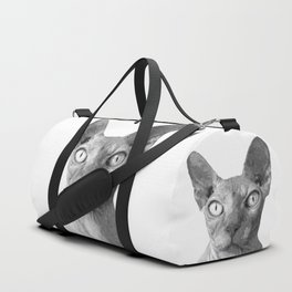 Black and White Sphynx Cat Duffle Bag
