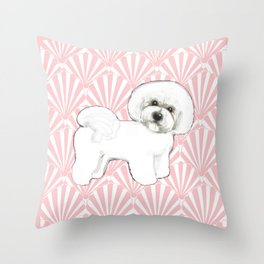 Bichon Frise at the beach / seashell pink Throw Pillow