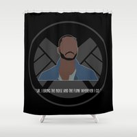 agents of shield Shower Curtains featuring Agents of S.H.I.E.L.D. - Trip by MacGuffin Designs