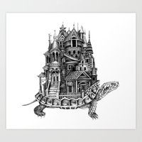 discworld Art Prints featuring Turtle City by Meridith Rodgman