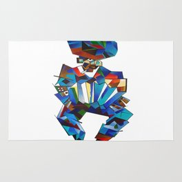Accordion Player In Cubist Style Rug