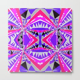 psychedelic geometric abstract pattern background in pink and purple Metal Print