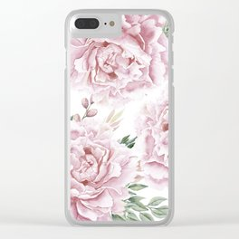 Pretty Pink Roses Flower Garden Clear iPhone Case
