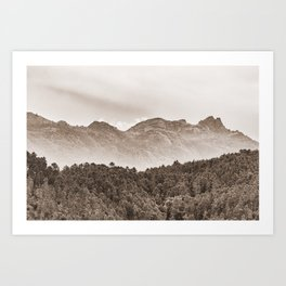 The mountain beyond the forest Art Print