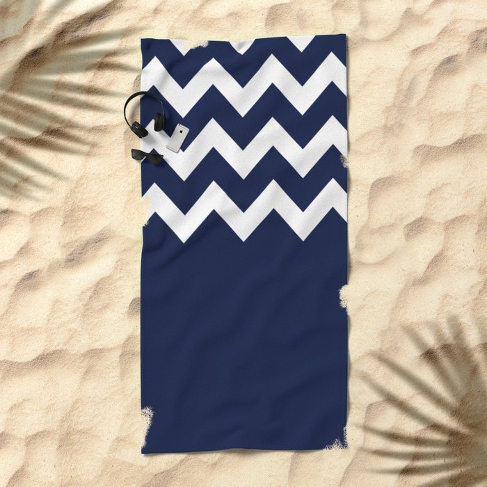 Indigo Navy Blue Chevron Block Beach Towel