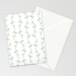 white lily watercolor Stationery Cards