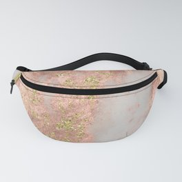 Rose Gold Marble with Yellow Gold Glitter Fanny Pack