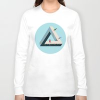 escher Long Sleeve T-shirts featuring Ice Skating with Escher by Arielle Herman
