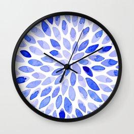 Watercolor brush strokes - blue Wall Clock