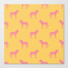 Zebra Pattern in Pink and Yellow Canvas Print