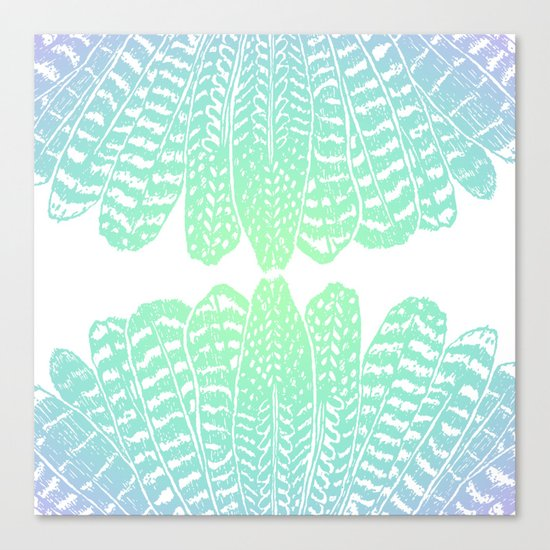 TRIBAL FEATHERS - SEAFOAM Canvas Print