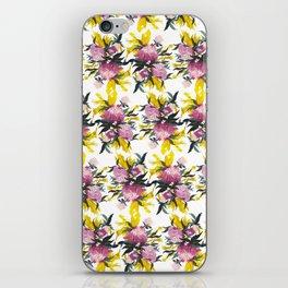pattern Pivoine violette sur fond jaune iPhone Skin