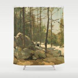 Wooded View near Barbizon - Johan Hendrik Weissenbruch (1900) Shower Curtain