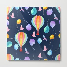 hot air balloon pattern Metal Print