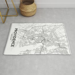 Minimal City Maps - Map Of Providence, Rhode Island, United States Rug